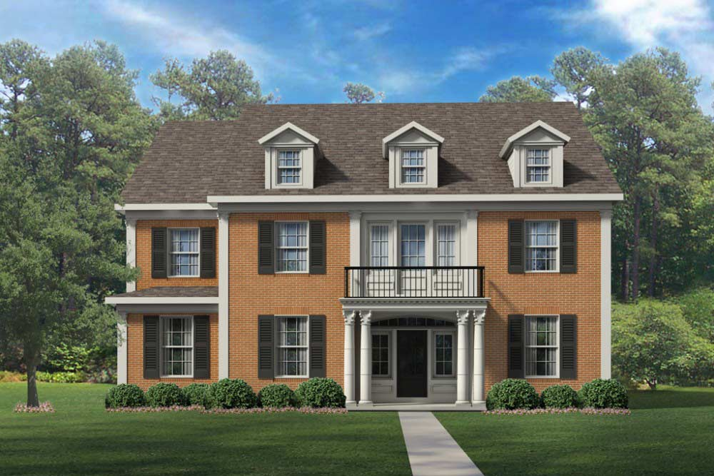Asheville Custom home plan Elevation option 3