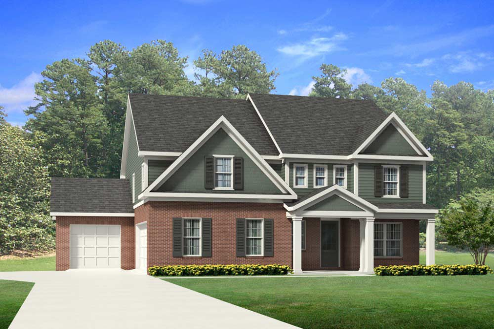 Asheville Custom home plan Elevation option 5