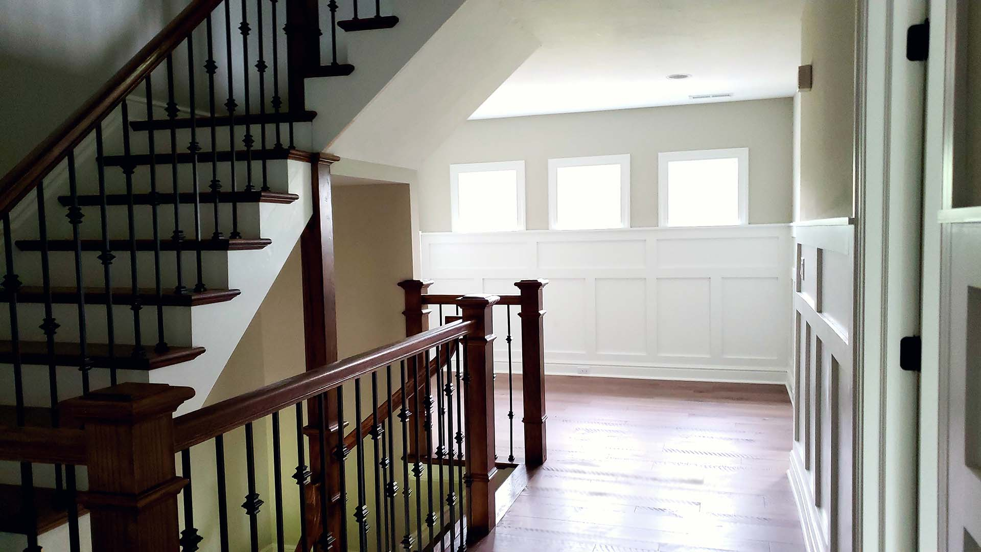 second floor staircase to third level- Parkside Meadows model